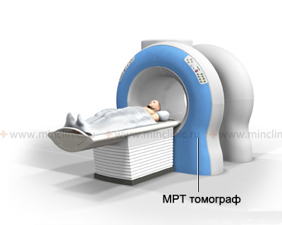 The patient is placed on the sliding table of the MRI machine, which then automatically moves with it to the center of the scanner to start the study.