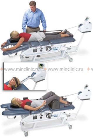Traction table for spinale traction the during operation (extension of the cervical and lumbosacral spine).